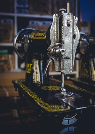 heavy duty: Heavy duty vintage Singer sewing machines for sale as seen in a shop in Yangon, Myanmar. Stock Photo