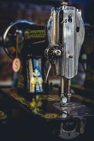 industrail: Heavy duty vintage Singer sewing machines for sale as seen in a shop in Yangon, Myanmar. Stock Photo