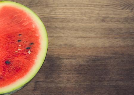 tabletop: Half of watermelon shot on tabletop