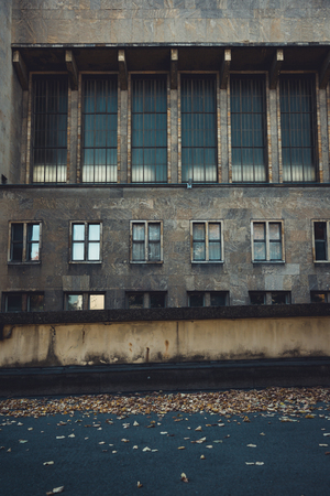 Architectural details of the historic Tempelhof Airport in Berlin, Germany.