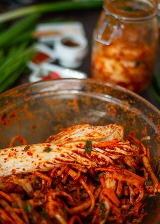 Fresh and brightly colored ingredients together for making Kimchi Zdjęcie Seryjne