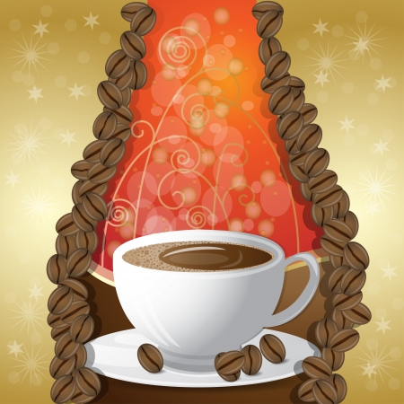 Cup of coffee with beam s Vector