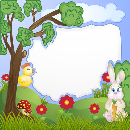 Illustration background with bunny and chicken