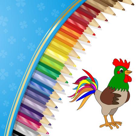 Colour pencils and coconut Illustration
