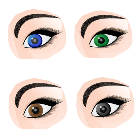 Set of different color eyes