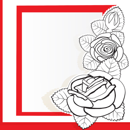 Background with drawn roses Illustration