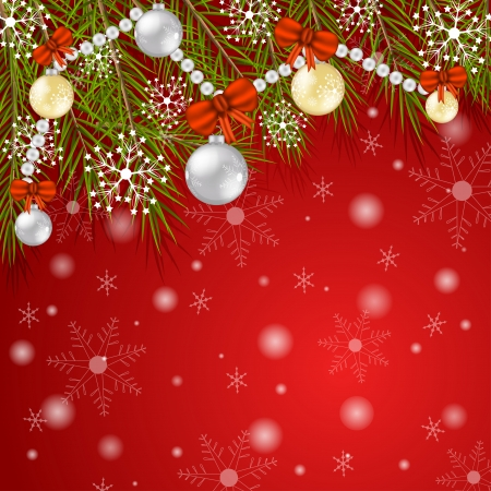 Christmas card with branch and decoration