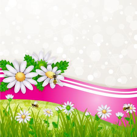Tarjeta de la flor de la margarita con la hierba y las abejas Ilustración de vector