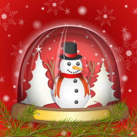 Snowman in the glass globe over red background