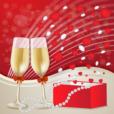 Valentine s day with champagne glasses Vector
