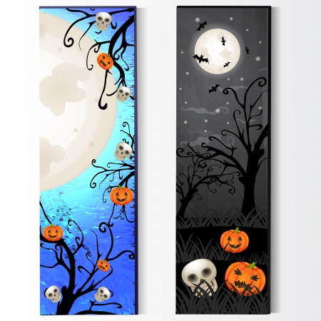 Halloween card with skeleton and pumpkin
