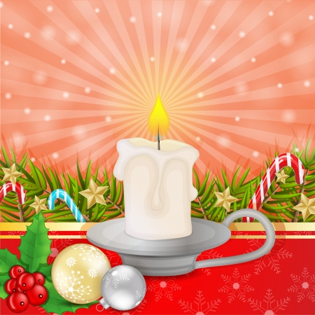 Christmas candle with branches and decoration