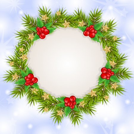 Christmas card background with branches and decoration