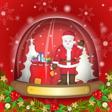 Santa claus with bag full of gifts in the glass globe