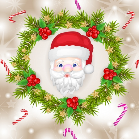 Santa claus pattern with branches and decoration