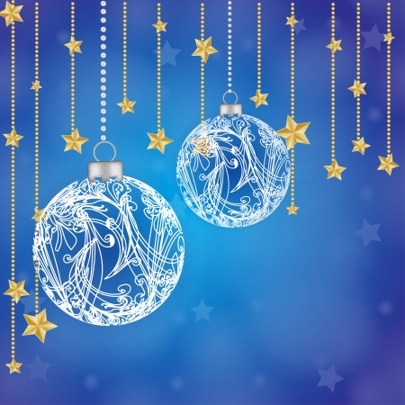 Christmas globe with stars background  Illustration