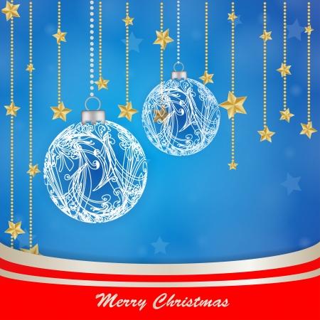 Christmas globe with stars background  Illustration