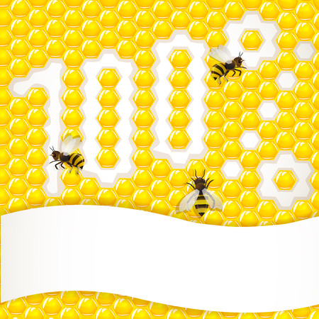 Honeycombs background with bee  Illustration