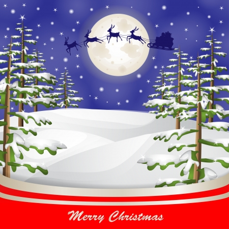 Santa sleigh over moon and Christmas tree background Illustration