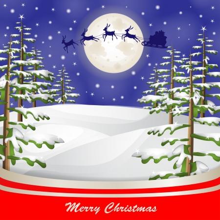 Santa sleigh over moon and Christmas tree background Illustration
