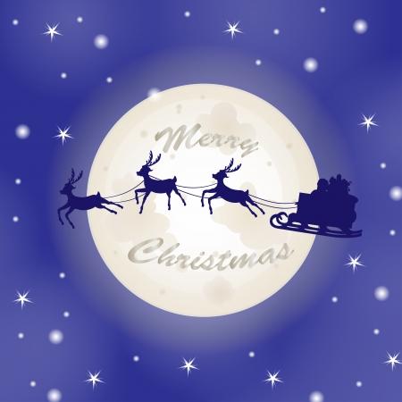 Santa sleigh over moon background  Illustration