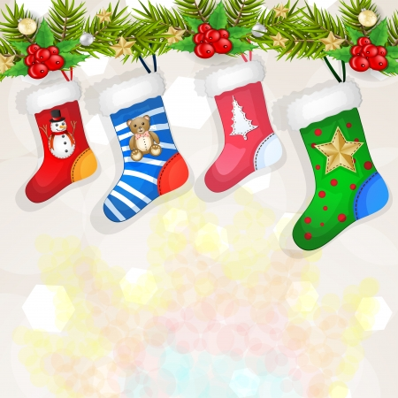 Christmas socks over branches decoration