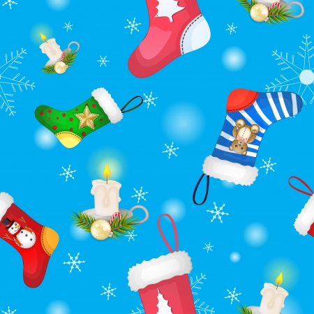 Christmas socks with candle and decoration pattern  Illustration
