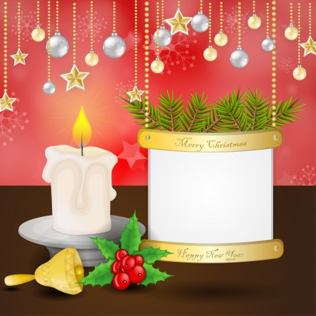 Christmas card with candle and bell