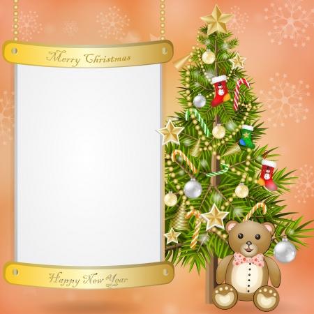 Christmas tree with teddy bear Illustration