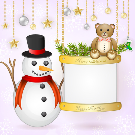 Christmas card with snowman and teddy bear  Vector