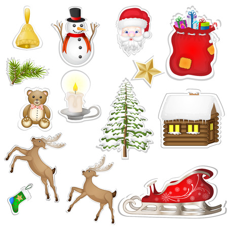 Christmas elements sticker  Vector
