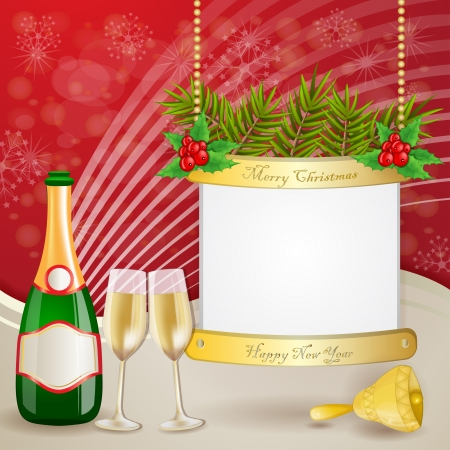 Champagne over christmas background