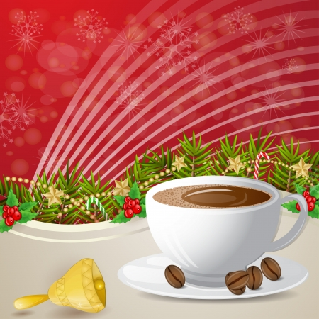 Coffee and bell over christmas decoration Illustration