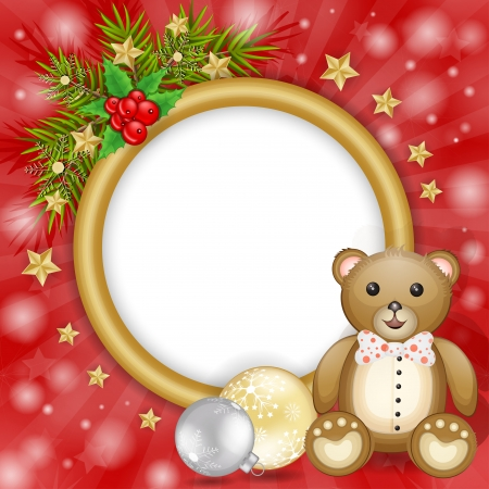 Christmas frame with teddy bear over branches and snowflakes decoration