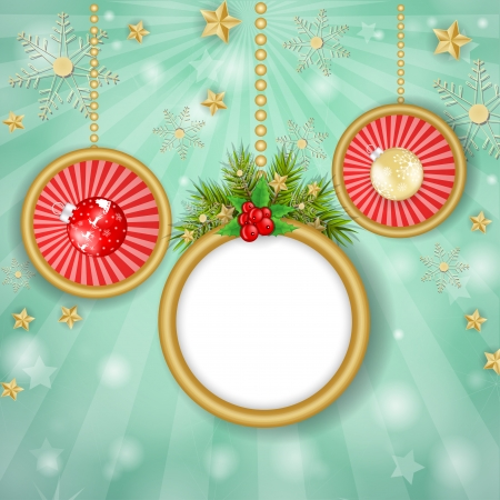 Christmas frame and globe over snowflakes background