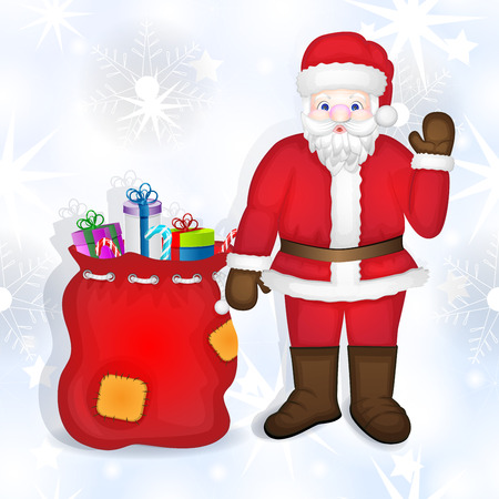 Santa claus with bag full of gifts Illustration