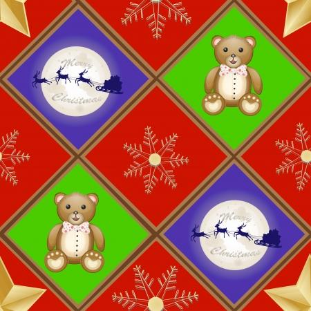 Christmas patern with teddy bear and santa sleigh and reindeer over moon