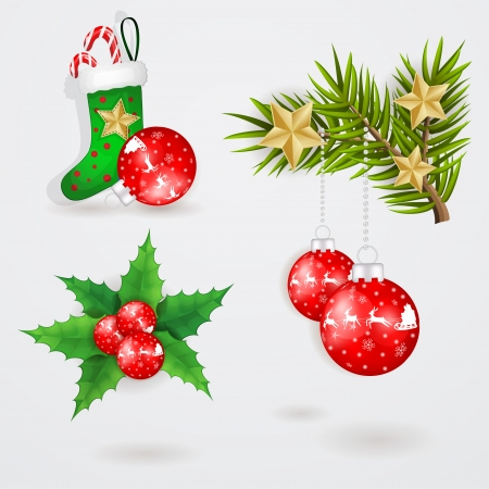 Christmas elements with red globe