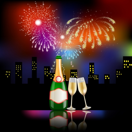 Fireworks for new year with champagne Illustration