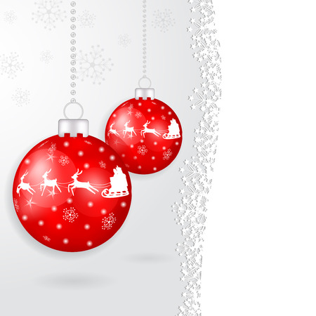Isolated red globe with reindeer
