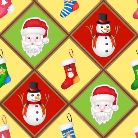 Christmas pattren with socks, santa and snowman