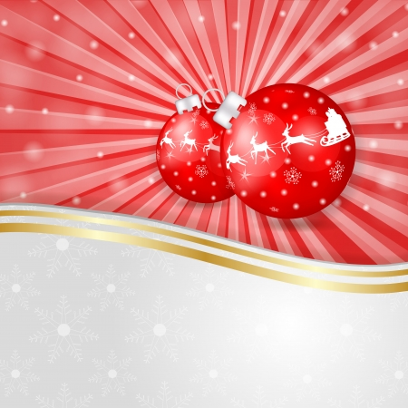 Red globe over Christmas background