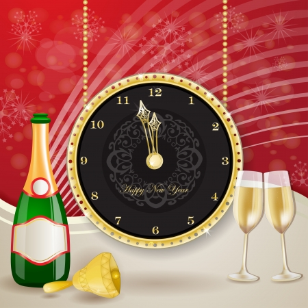 botle: Clock for new year with champagne and bell Illustration