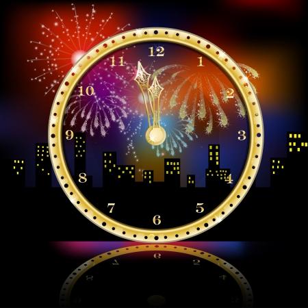 Golden clock for new year over fireworks background Illustration