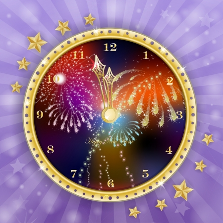 Golden clock for new year over fireworks background Illustration