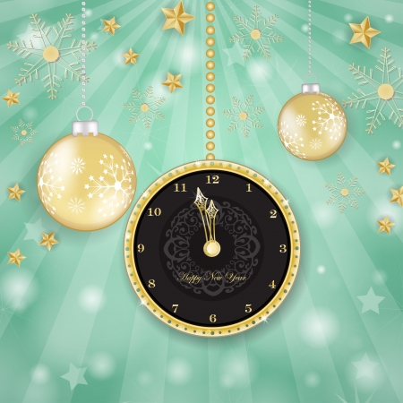 Golden clock over snowflakes background Vector