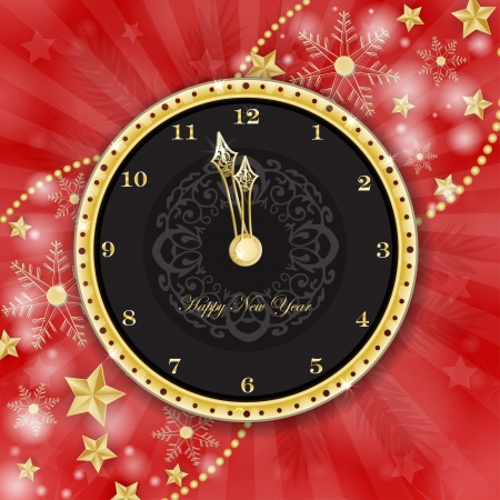Clock for new year over snowflake background