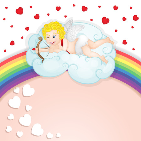 Cupid over clouds Illustration