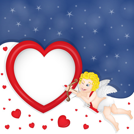 Cupid with heart frame