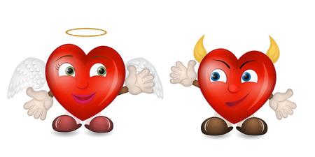 Cartoon hearts isolated
